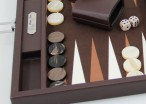 Backgammon BUFFALO B20L Brown Medium, Alcantara Spielfeld, Hector Saxe, Paris Bild 2