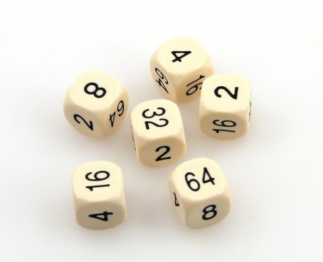 6 pc. Doubling Cube, approx. 16mm, wood, numbers black