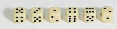 Dice, 16mm, ivory-coloured