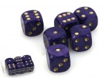 Dice - Set with 6 pieces, 16 mm marbled lila