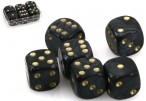Dice - Set with 6 pieces, 16 mm marbled black