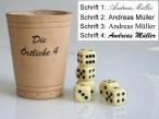 Leather dice cup 9 cm with engravement
