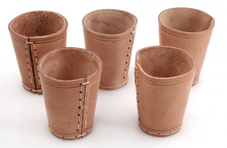 Ludomax 325130 5 piece of Dice cup, Leather, 9cm nature