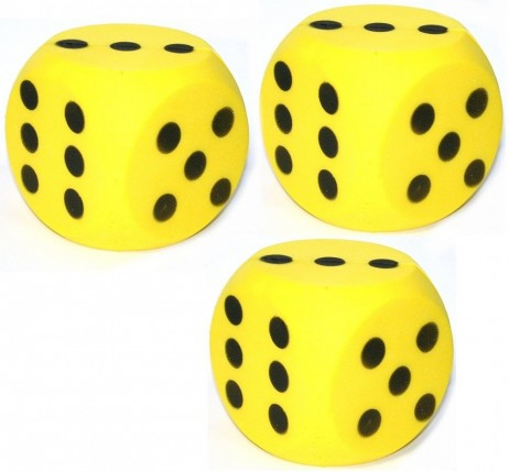 3 piece package of giant yellow foam dice, dice with 15 cm edge