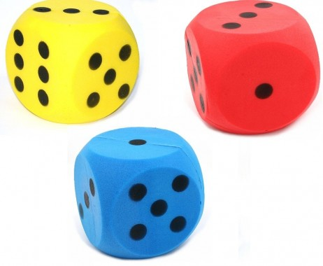3 piece package of giant foam dice, 3 colours, dice with 15 cm edge