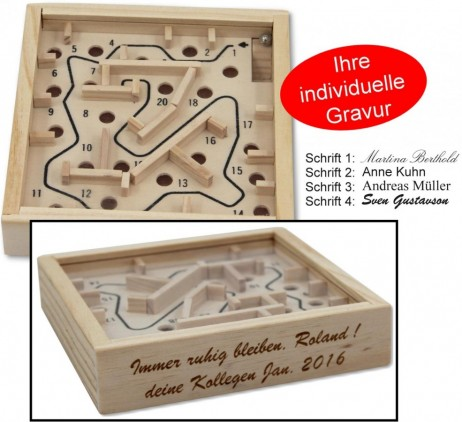 Mini Labyrinth, game of skill, incl. Engraving