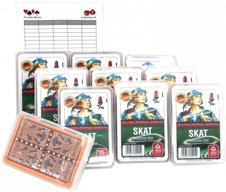 10 pieces of SKAT CLUB, german picture + Ludomax writing pad