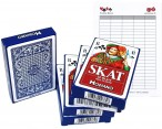 Skat 100% plastic, 5 deck plastic playingcards, 32 cards + Ludomax writing pad