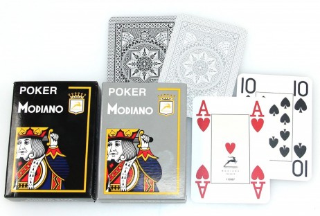 2 Decks POKER 4J Gray by MODIANO, 100% plastic, 4 Jumbo Index, ohne Rand!