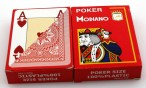 2 pieces of POKER by MODIANO, 100% plastic, 4 Jumbo Index, red coloured