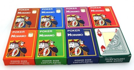 8 pieces of POKER by MODIANO, 100% plastic, 4 Jumbo Index, diffent colours
