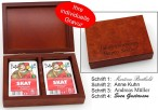 Playing cards wooden box Skat, with print, nice gift idea