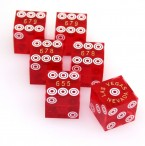 Casino - Precisondice red, set of 3 pair (6 pieces) with same serial number