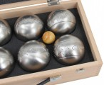 OBUT 8-SET, Leisure time Boules in the wood case, with engraving